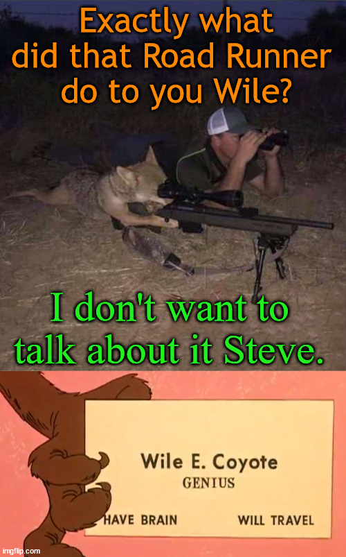 The gun is made my Acme and blows up in his face. |  Exactly what did that Road Runner  do to you Wile? I don't want to talk about it Steve. | image tagged in wile e coyote,road runner | made w/ Imgflip meme maker