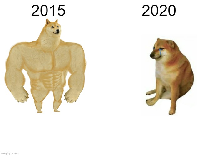 Buff Doge vs. Cheems Meme |  2015; 2020 | image tagged in memes,buff doge vs cheems | made w/ Imgflip meme maker