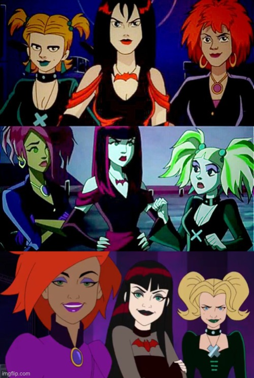 Hex girls Animation Scooby Doo | image tagged in glow down,animation,comics/cartoons,scooby doo,hex girls,goth | made w/ Imgflip meme maker