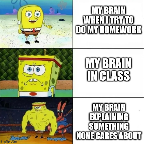 why |  MY BRAIN WHEN I TRY TO DO MY HOMEWORK; MY BRAIN IN CLASS; MY BRAIN EXPLAINING SOMETHING NONE CARES ABOUT | image tagged in bulky sponge bob,brain,school | made w/ Imgflip meme maker