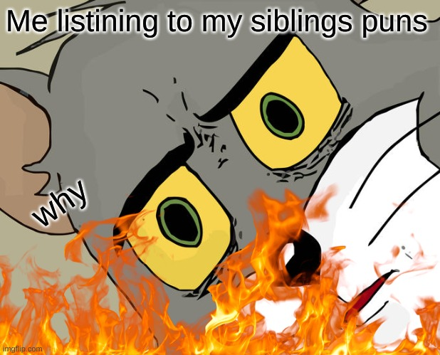 puns |  Me listining to my siblings puns; why | image tagged in tom and jerry | made w/ Imgflip meme maker
