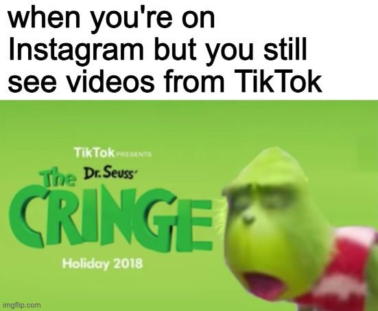 when you're on Instagram but you still see videos from TikTok | image tagged in blank white template,dr seuss' the cringe | made w/ Imgflip meme maker