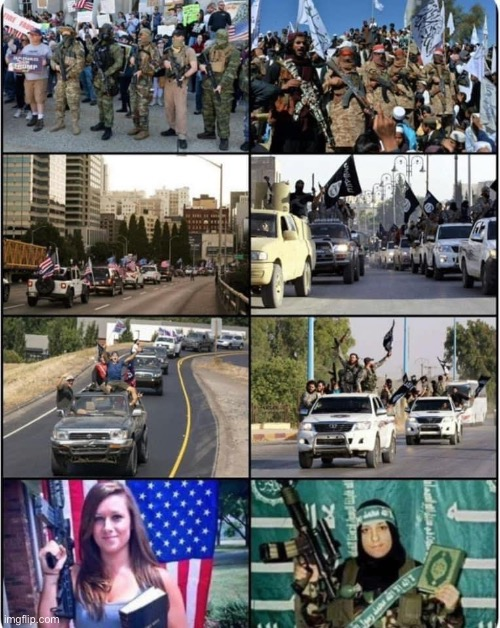 that is just not a fair comparison, their muslim were american maga | image tagged in maga jihadis,maga,jihad,isis jihad terrorists,terrorists,terrorism | made w/ Imgflip meme maker