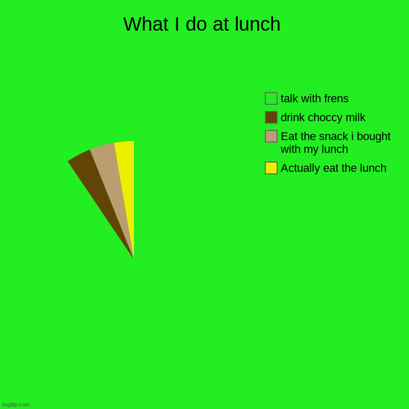 who can relate | What I do at lunch | Actually eat the lunch, Eat the snack i bought with my lunch, drink choccy milk, talk with frens | image tagged in charts,pie charts | made w/ Imgflip chart maker