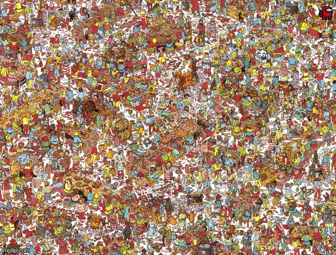 There are 8 memes, find them | image tagged in where's waldo,waldo,memes,search | made w/ Imgflip meme maker
