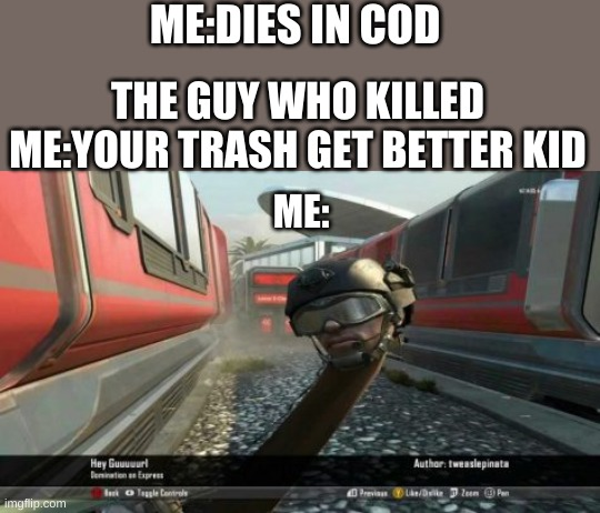 ME:DIES IN COD; THE GUY WHO KILLED ME:YOUR TRASH GET BETTER KID; ME: | image tagged in cod | made w/ Imgflip meme maker
