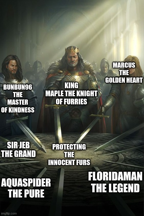 cant add the other famous people cuz i couldn't spell and cant fit more |  MARCUS THE GOLDEN HEART; KING MAPLE THE KNIGHT OF FURRIES; BUNBUN96 THE MASTER OF KINDNESS; SIR JEB THE GRAND; PROTECTING THE INNOCENT FURS; FLORIDAMAN THE LEGEND; AQUASPIDER THE PURE | image tagged in knights of the round table | made w/ Imgflip meme maker
