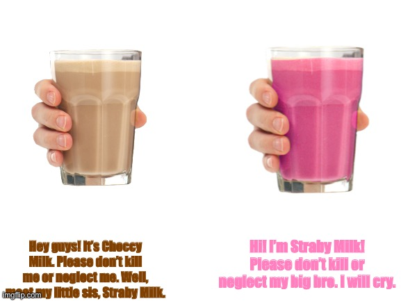 Blank White Template |  Hey guys! It's Choccy Milk. Please don't kill me or neglect me. Well, meet my little sis, Straby Milk. Hi! I'm Straby Milk! Please don't kill or neglect my big bro. I will cry. | image tagged in blank white template,choccy milk,straby milk,siblings,oh wow are you actually reading these tags | made w/ Imgflip meme maker