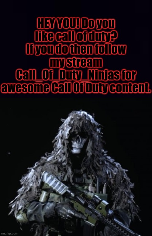 https://imgflip.com/m/Call_Of_Duty_Ninjas |  HEY YOU! Do you like call of duty? If you do then follow my stream Call_Of_Duty_Ninjas for awesome Call Of Duty content. | image tagged in ghost updated | made w/ Imgflip meme maker