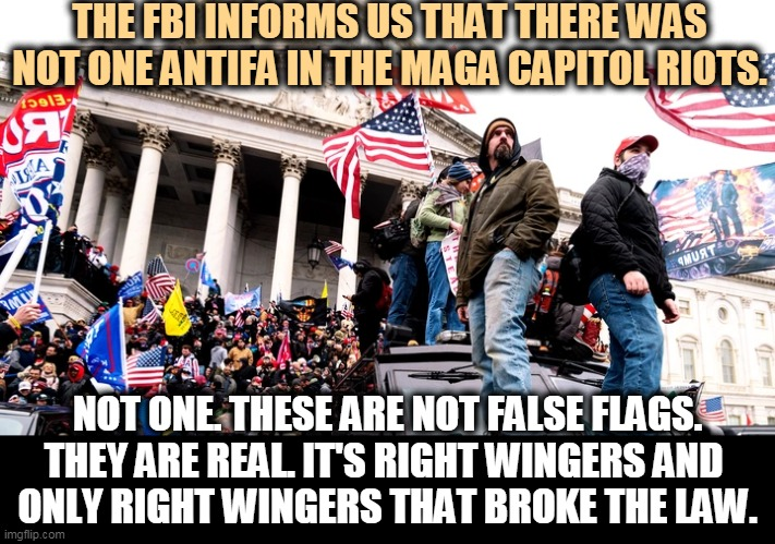 Nope. No antifa. Not one. |  THE FBI INFORMS US THAT THERE WAS NOT ONE ANTIFA IN THE MAGA CAPITOL RIOTS. NOT ONE. THESE ARE NOT FALSE FLAGS. THEY ARE REAL. IT'S RIGHT WINGERS AND  ONLY RIGHT WINGERS THAT BROKE THE LAW. | image tagged in capitol riot,trump,right wing,neo-nazis,white supremacists,antifa | made w/ Imgflip meme maker