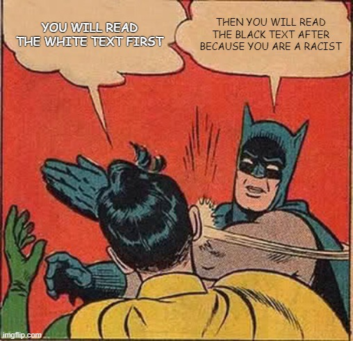 hehe |  YOU WILL READ THE WHITE TEXT FIRST; THEN YOU WILL READ THE BLACK TEXT AFTER BECAUSE YOU ARE A RACIST | image tagged in memes,batman slapping robin | made w/ Imgflip meme maker