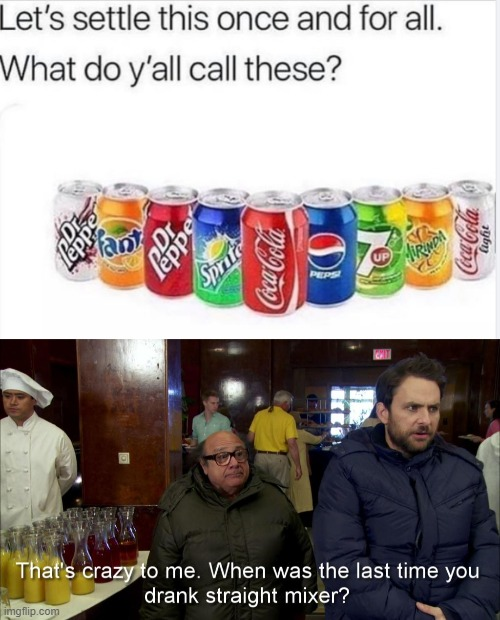 Straight Mixer | image tagged in it's always sunny in philidelphia,drinking,coke,soda | made w/ Imgflip meme maker