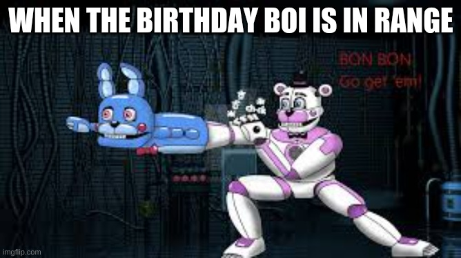 GO GET EM |  WHEN THE BIRTHDAY BOI IS IN RANGE | image tagged in fnaf,yeet | made w/ Imgflip meme maker