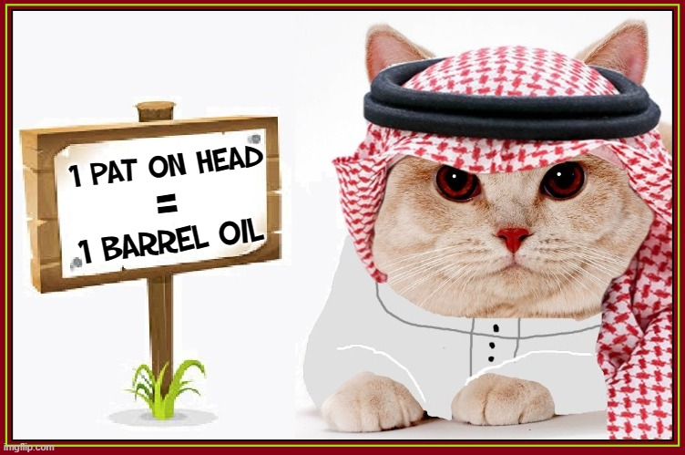 The Arab Cat Prince has Spoken |  1 Pat on Head; =; 1 barrel oil | image tagged in vince vance,petting,arab,cats,oil,memes | made w/ Imgflip meme maker