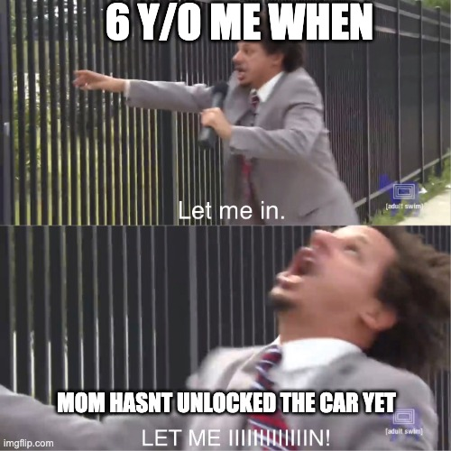 i did this |  6 Y/O ME WHEN; MOM HASNT UNLOCKED THE CAR YET | image tagged in let me in,memes,funny | made w/ Imgflip meme maker