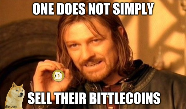 One Does Not Simply Meme |  ONE DOES NOT SIMPLY; SELL THEIR BITTLECOINS | image tagged in memes,one does not simply,dogecoin,doge,cryptocurrency,crypto | made w/ Imgflip meme maker