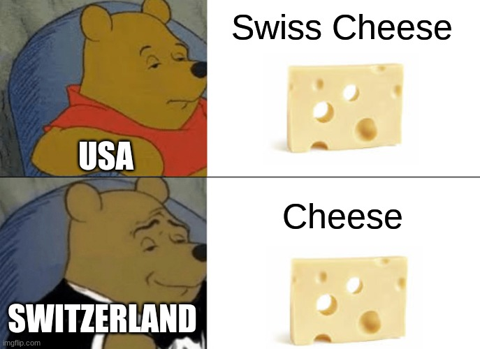 Swiss Cheese |  Swiss Cheese; USA; Cheese; SWITZERLAND | image tagged in memes,tuxedo winnie the pooh,cheese | made w/ Imgflip meme maker
