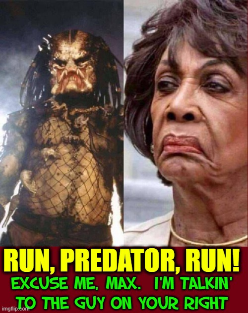 Predator Versus Zombie Queen |  RUN, PREDATOR, RUN! EXCUSE ME, MAX.  I'M TALKIN' TO THE GUY ON YOUR RIGHT | image tagged in vince vance,maxine waters,predator,memes,evil,the devil | made w/ Imgflip meme maker