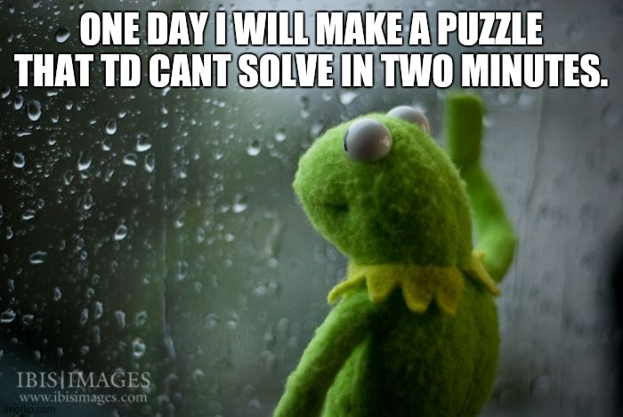 ONE DAY I WILL MAKE A PUZZLE THAT TD CANT SOLVE IN TWO MINUTES. | image tagged in kermit window | made w/ Imgflip meme maker