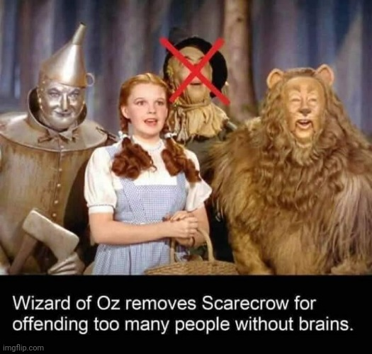 Wizard of Oz & the Liberal Cancel Culture | image tagged in wizard of oz,wizard of oz scarecrow,cancel culture | made w/ Imgflip meme maker