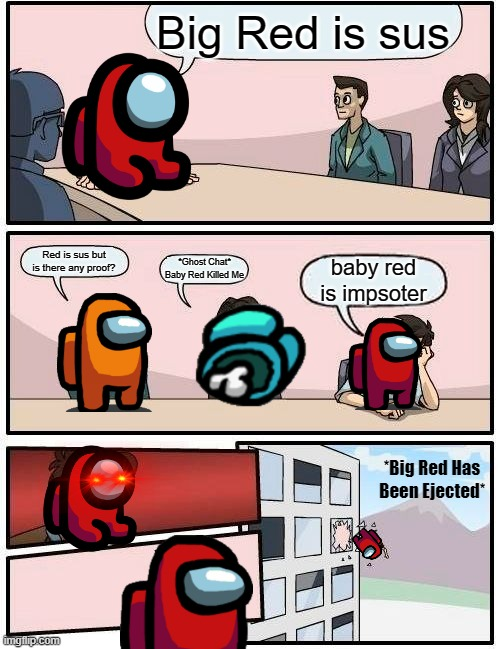 Boardroom Meeting Suggestion |  Big Red is sus; Red is sus but is there any proof? *Ghost Chat* Baby Red Killed Me; baby red is impsoter; *Big Red Has Been Ejected* | image tagged in memes,boardroom meeting suggestion,among us | made w/ Imgflip meme maker