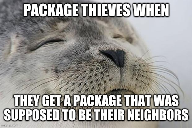 Probably |  PACKAGE THIEVES WHEN; THEY GET A PACKAGE THAT WAS SUPPOSED TO BE THEIR NEIGHBORS | image tagged in memes,satisfied seal | made w/ Imgflip meme maker