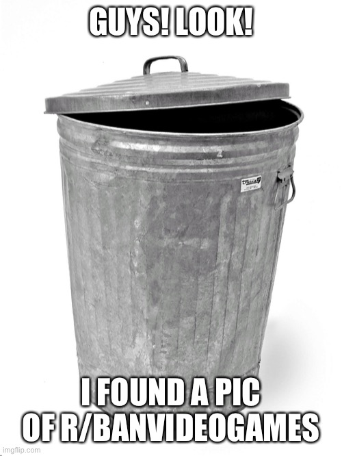Trash Can |  GUYS! LOOK! I FOUND A PIC OF R/BANVIDEOGAMES | image tagged in trash can,bvg,is,trash,lol,oh wow are you actually reading these tags | made w/ Imgflip meme maker
