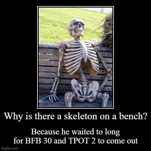 Skeleton | Why is there a skeleton on a bench? | Because he waited to long for BFB 30 and TPOT 2 to come out | image tagged in funny,demotivationals,waiting skeleton,bfb,tpot | made w/ Imgflip demotivational maker