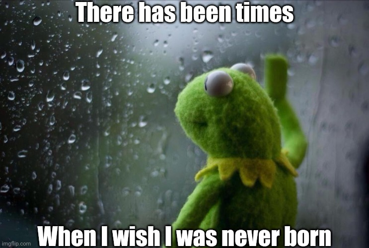 Sad Kermit |  There has been times; When I wish I was never born | image tagged in sad kermit | made w/ Imgflip meme maker