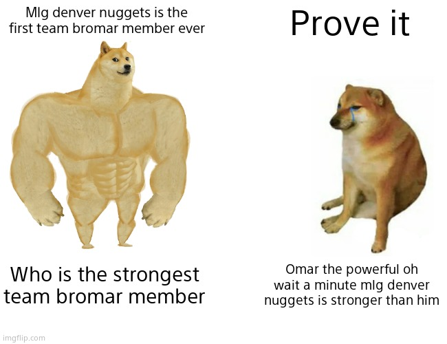Mlg denver nuggets is the first team bromar member |  Mlg denver nuggets is the first team bromar member ever; Prove it; Who is the strongest team bromar member; Omar the powerful oh wait a minute mlg denver nuggets is stronger than him | image tagged in memes,buff doge vs cheems | made w/ Imgflip meme maker