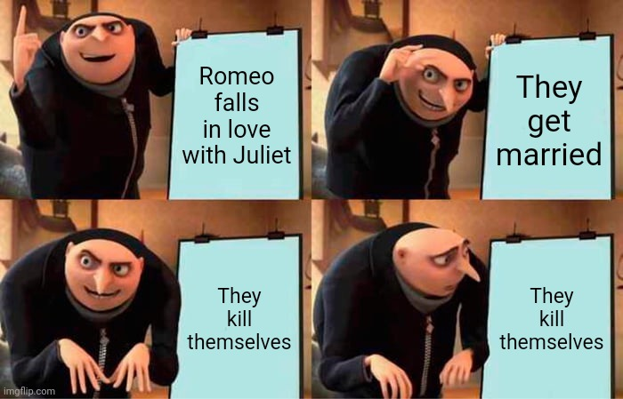 Romeo and Juliet's plan |  Romeo falls in love with Juliet; They get married; They kill themselves; They kill themselves | image tagged in memes,gru's plan,romeo and juliet,suicide,shakespeare,despicable me | made w/ Imgflip meme maker