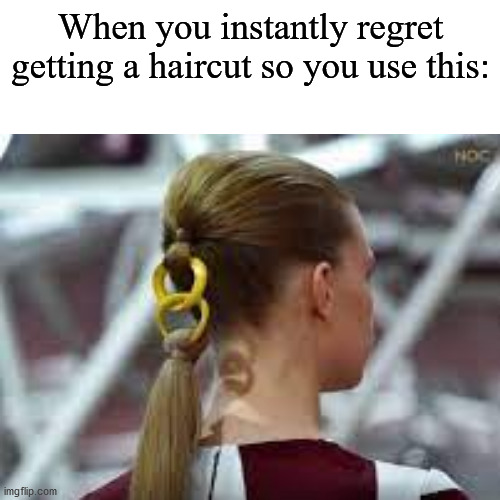 Improvise, adapt, overcome |  When you instantly regret getting a haircut so you use this: | image tagged in memes,funny,haircut,regret,gifs,not really a gif | made w/ Imgflip meme maker