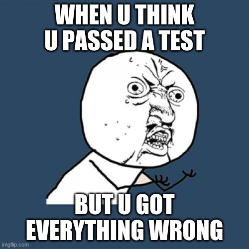 Y U No |  WHEN U THINK U PASSED A TEST; BUT U GOT EVERYTHING WRONG | image tagged in memes,y u no | made w/ Imgflip meme maker