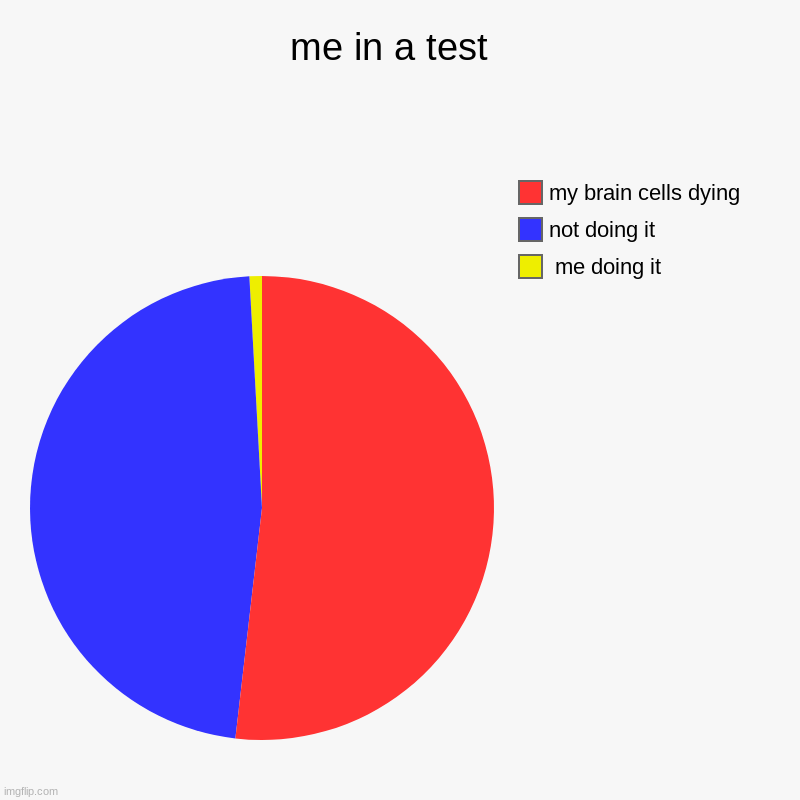 me in a test  |  me doing it , not doing it , my brain cells dying | image tagged in charts,pie charts | made w/ Imgflip chart maker