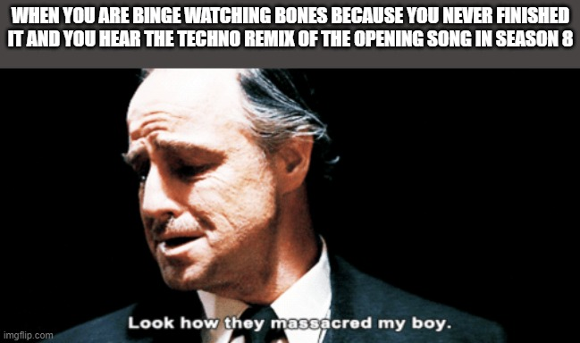 wasn't the best part of the show but I was still upset |  WHEN YOU ARE BINGE WATCHING BONES BECAUSE YOU NEVER FINISHED IT AND YOU HEAR THE TECHNO REMIX OF THE OPENING SONG IN SEASON 8 | image tagged in look how they massacred my boy,bones | made w/ Imgflip meme maker