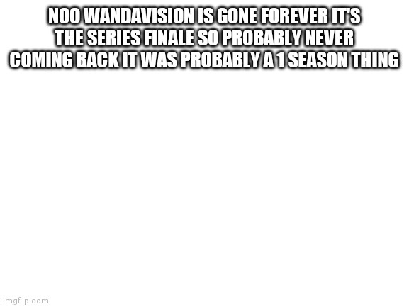 Rip this stream |  NOO WANDAVISION IS GONE FOREVER IT'S THE SERIES FINALE SO PROBABLY NEVER COMING BACK IT WAS PROBABLY A 1 SEASON THING | image tagged in blank white template | made w/ Imgflip meme maker