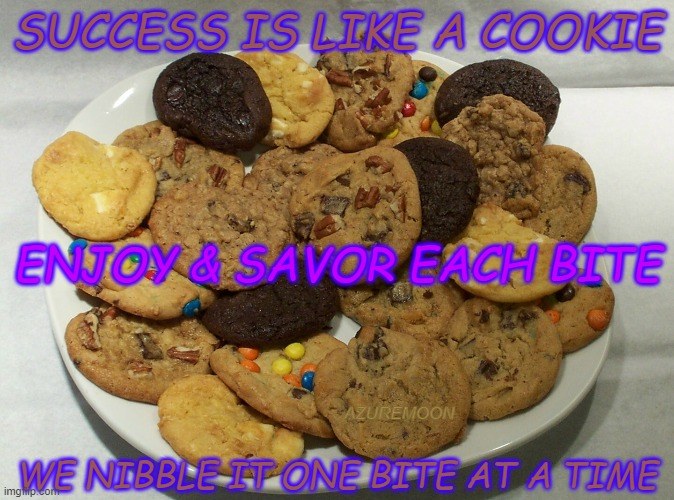 Success Is Sweet, Savor Every Bite! |  SUCCESS IS LIKE A COOKIE; ENJOY & SAVOR EACH BITE; AZUREMOON; WE NIBBLE IT ONE BITE AT A TIME | image tagged in cookies,sweet,good times,inspirational memes,inspire the people,inspirational quote | made w/ Imgflip meme maker