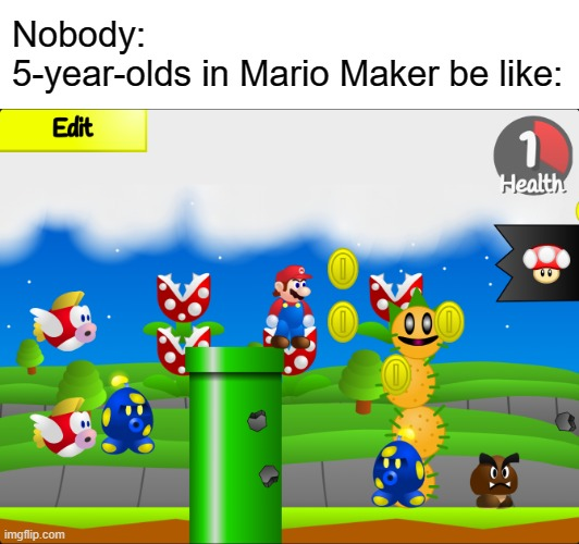"I don't have the actual Mario Maker. So, I used ""Super Mario for Scratch Maker""... 