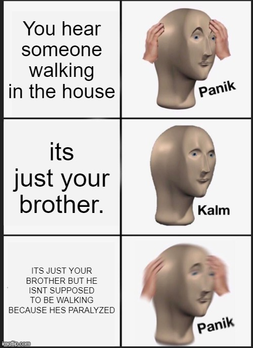 Panik Kalm Panik |  You hear someone walking in the house; its just your brother. ITS JUST YOUR BROTHER BUT HE ISNT SUPPOSED TO BE WALKING BECAUSE HES PARALYZED | image tagged in memes,panik kalm panik | made w/ Imgflip meme maker