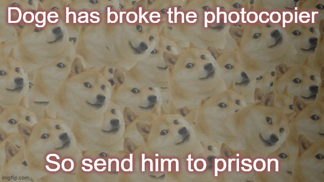 He multiplied himself |  Doge has broke the photocopier; So send him to prison | image tagged in multi doge,prison | made w/ Imgflip meme maker
