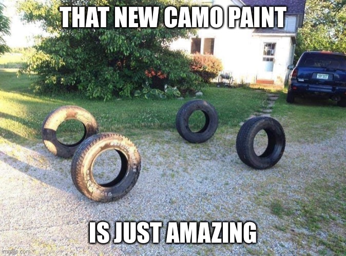 Camo Paint |  THAT NEW CAMO PAINT; IS JUST AMAZING | image tagged in camouflage,funny,car,paint | made w/ Imgflip meme maker