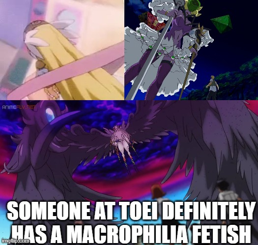 Self explanatory |  SOMEONE AT TOEI DEFINITELY HAS A MACROPHILIA FETISH | image tagged in digimon,digimon savers,digimon data squad,digimon adventure tri,digimon adventure 02,macrophilia | made w/ Imgflip meme maker