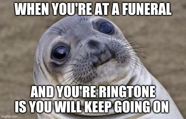 Awkward Moment Sealion |  WHEN YOU'RE AT A FUNERAL; AND YOU'RE RINGTONE IS YOU WILL KEEP GOING ON | image tagged in memes,awkward moment sealion | made w/ Imgflip meme maker