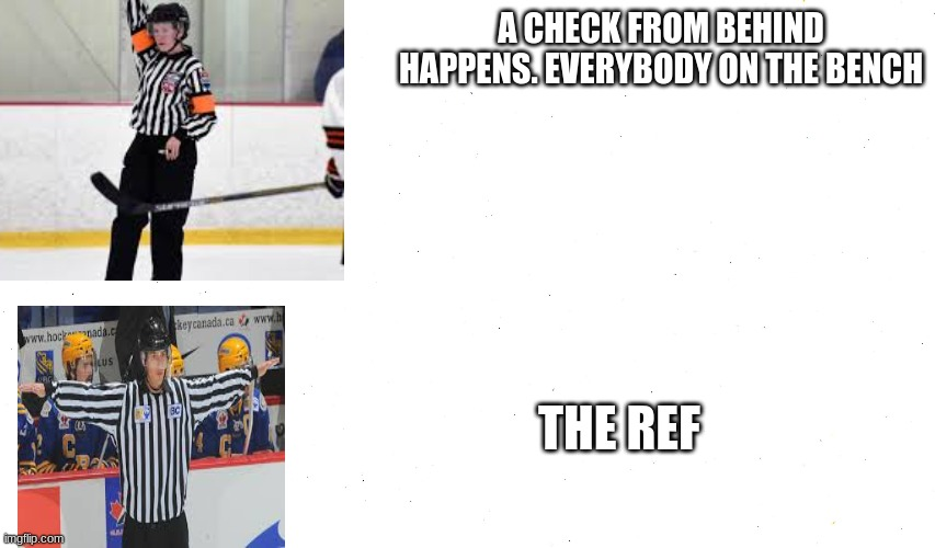 hockey refs these days |  A CHECK FROM BEHIND HAPPENS. EVERYBODY ON THE BENCH; THE REF | image tagged in hockey | made w/ Imgflip meme maker