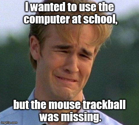 Now it's just toying with you. | I wanted to use the computer at school, but the mouse trackball was missing. | image tagged in memes,1990s first world problems | made w/ Imgflip meme maker