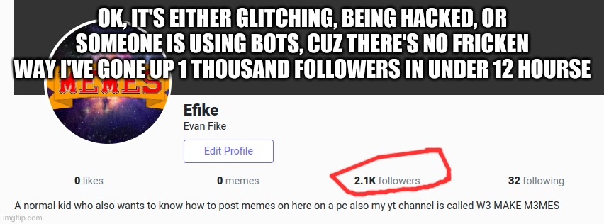 wtf |  OK, IT'S EITHER GLITCHING, BEING HACKED, OR SOMEONE IS USING BOTS, CUZ THERE'S NO FRICKEN WAY I'VE GONE UP 1 THOUSAND FOLLOWERS IN UNDER 12 HOURSE | image tagged in memes | made w/ Imgflip meme maker