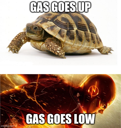 Slow vs Fast Meme | GAS GOES UP GAS GOES LOW | image tagged in slow vs fast meme | made w/ Imgflip meme maker