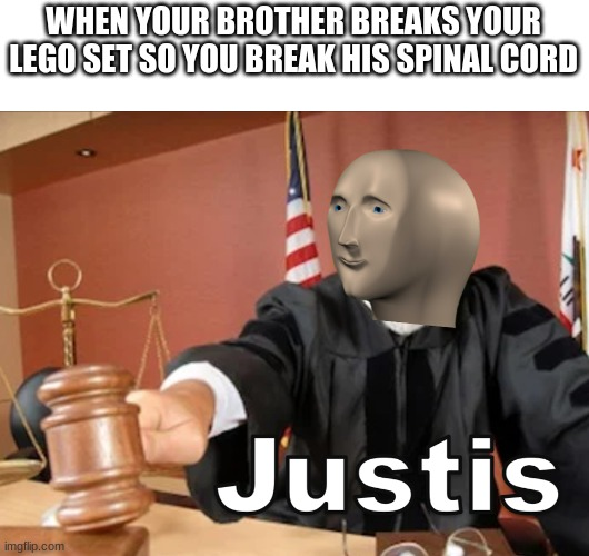 Meme man Justis |  WHEN YOUR BROTHER BREAKS YOUR LEGO SET SO YOU BREAK HIS SPINAL CORD | image tagged in meme man justis | made w/ Imgflip meme maker