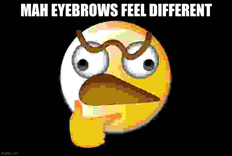 lol |  MAH EYEBROWS FEEL DIFFERENT | image tagged in eyebrows,emoji,huh,lol | made w/ Imgflip meme maker