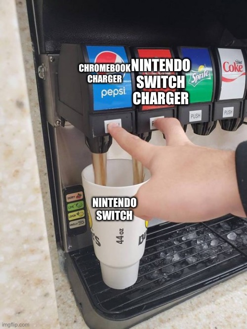 Two drinks at the same time |  CHROMEBOOK CHARGER; NINTENDO SWITCH CHARGER; NINTENDO SWITCH | image tagged in two drinks at the same time | made w/ Imgflip meme maker